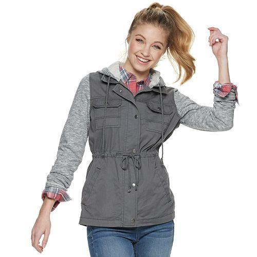 Juniors' Mudd® Knit Sleeve Hooded Utility Jacket
