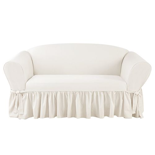 Sure Fit Essential Twill Scotchgard Relaxed Fit Box Seat Sofa Slipcover