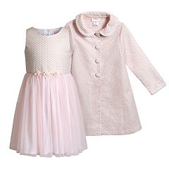 Girls 4-6x Youngland Tulle Dress & Jacquard Coat Set
