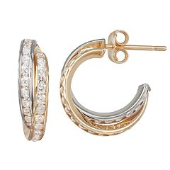 Forever 14K Gold Cubic Zirconia Hoop Earrings