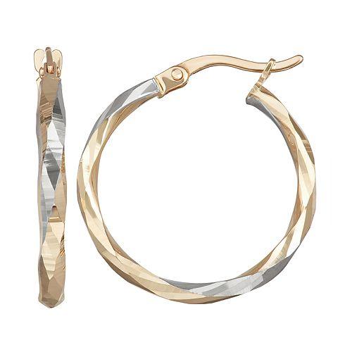Forever 14K Gold Two-Tone Hoop Earrings