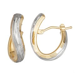 Forever 14K Gold Two-Tone Oval Twisted Hoop Earrings