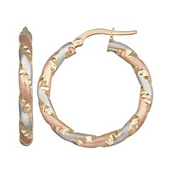 Forever 14K Gold Tri-Tone Hoop Earrings