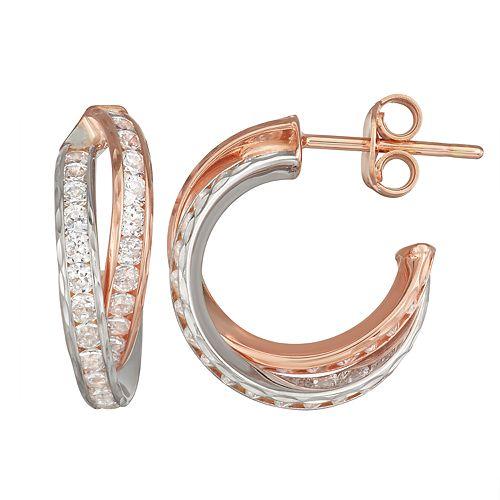 Forever 14K Gold Cubic Zirconia Hoop Earrings