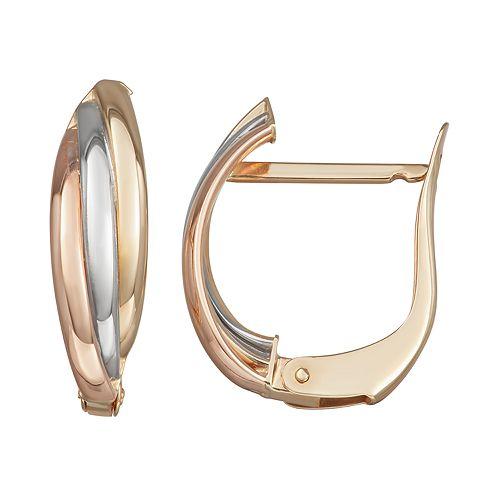 Forever 14K Gold Tri-Tone Oval Hoop Earrings
