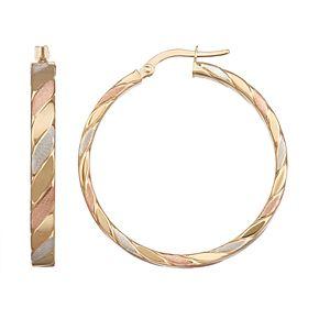 Forever 14K Gold Tri-Tone Hoop Earrings