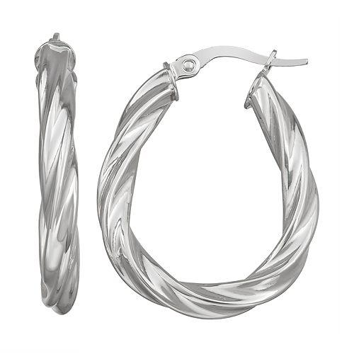 Forever 14K White Gold Twisted Oval Hoop Earrings