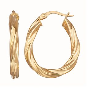 Forever 14K Yellow Gold Twisted Oval Hoop Earrings
