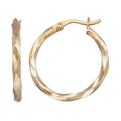 Forever 14K Gold Hammered Hoop Earrings