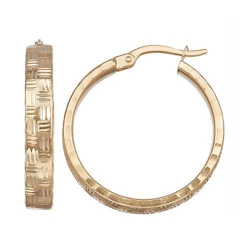 Forever 14K Gold Diamond-Cut Hoop Earrings