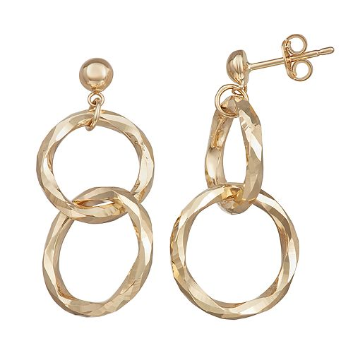 Forever 14K Gold Double-Ring Dangle Earrings