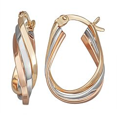 Forever 14K Gold Tri-Tone Oval Hoop Earrings
