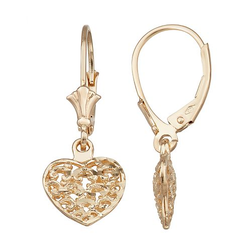 Forever 14K Gold Heart Dangle Earrings