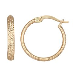 Forever 14K Gold Diamond-Cut Hoop Earrings