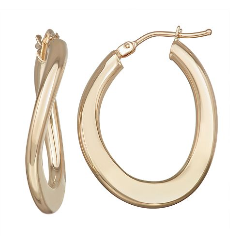 Forever 14K Gold Polished Oval Hoop Earrings