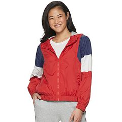 Juniors' Pink Republic Hooded Windbreaker Jacket