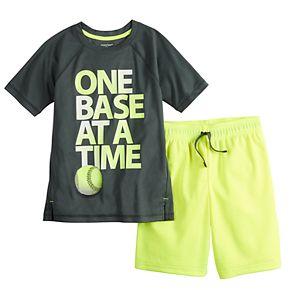 """Boys 4-12 Jumping Beans® """"One Base At A Time"""" Baseball Active Tee & Shorts Set"""