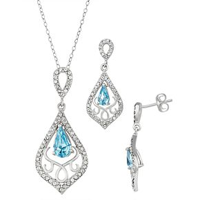 Sterling 'N' Ice Crystal Pendant & Drop Earring Set