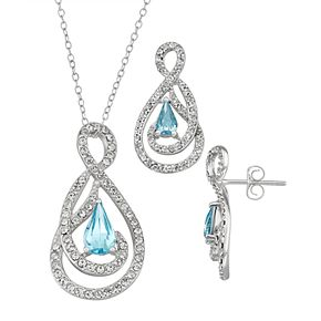 Sterling 'N' Ice Sterling Silver Crystal Abstract Pendant & Earring Set