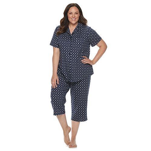 Plus Size Croft & Barrow® Sleep Shirt & Capri Pajama Set
