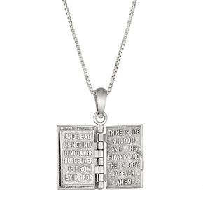 Sterling Silver and 14k Gold Bible Locket Necklace