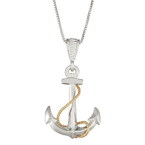 Sterling Silver and 14k Gold Anchor Pendant Necklace
