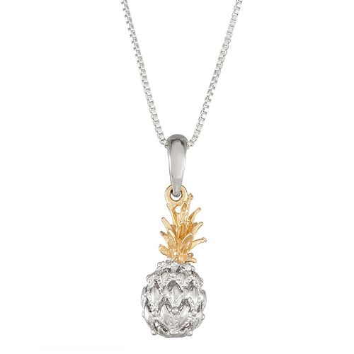 Sterling Silver and 14k Gold Pineapple Pendant Necklace