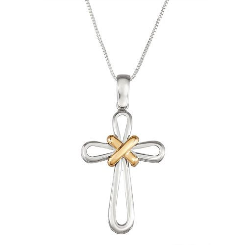 Sterling Silver and 14k Gold Cross Pendant Necklace
