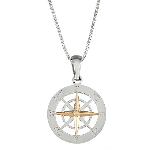 Sterling Silver and 14k Gold Compass Pendant Necklace