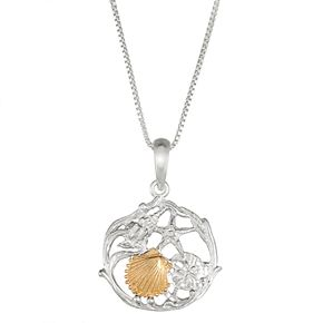 Sterling Silver and 14k Gold Seashell Cluster Pendant Necklace
