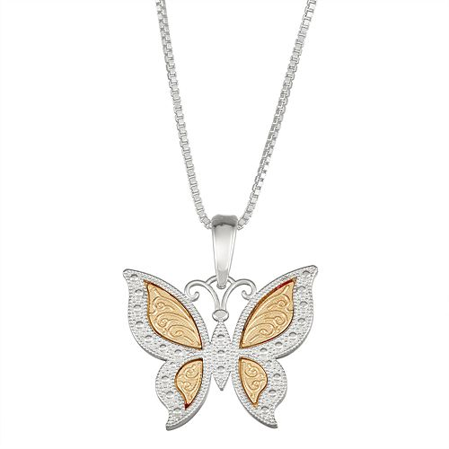 Sterling Silver and 14k Gold Butterfly Pendant Necklace