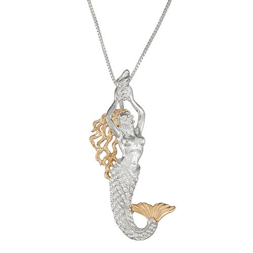 Sterling Silver and 14k Gold Mermaid Pendant Necklace