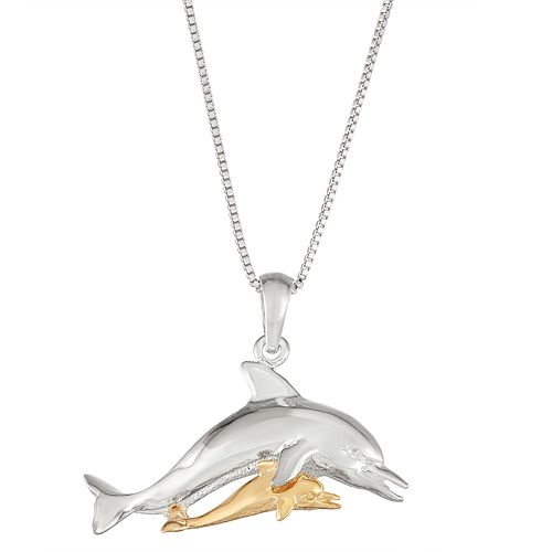 Sterling Silver and 14k Gold Double Dolphin Pendant