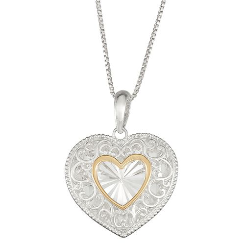 Sterling Silver and 14k Gold Heart Pendant Necklace