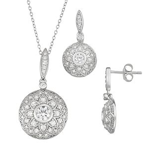 Sterling Silver Cubic Zirconia Drop Earring and Pendant Set
