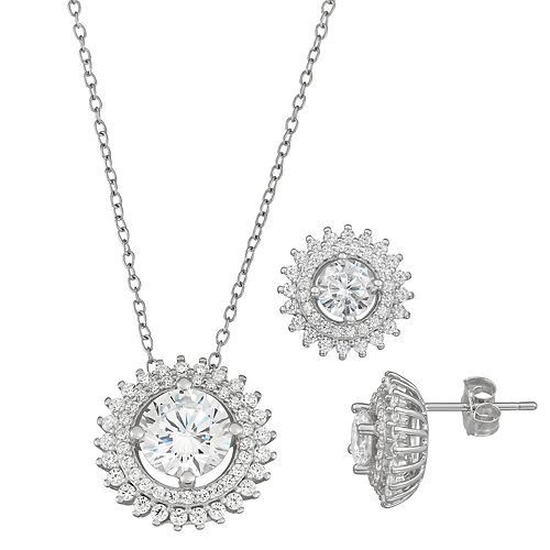Sterling Silver Cubic Zirconia Sunburst Pendant and Earring Set