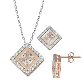 Sterling Silver Cubic Zirconia Square Pendant & Earring Set