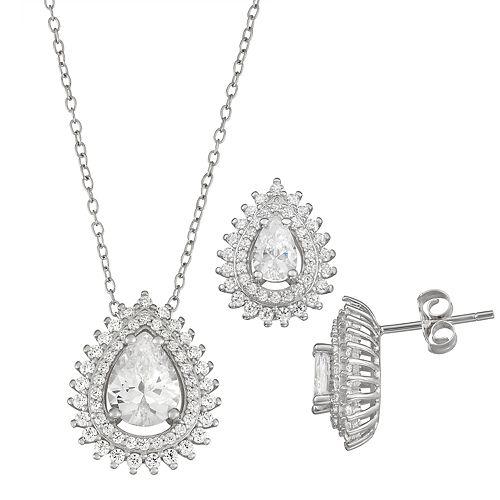 Sterling Silver Cubic Zirconia Teardrop Earring & Pendant Set