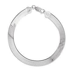 Sterling Silver Wide Herringbone Bracelet