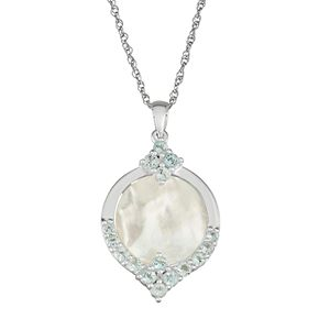 Sterling Silver Mother-of-Pearl & Blue Topaz Pendant Necklace