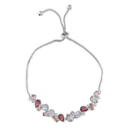 Sterling Silver Adjustable Cluster Crystal Bracelet