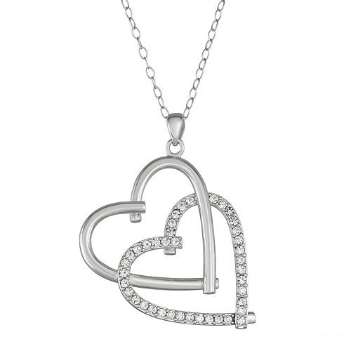 Sterling Silver Crystal Interlocking Heart Necklace