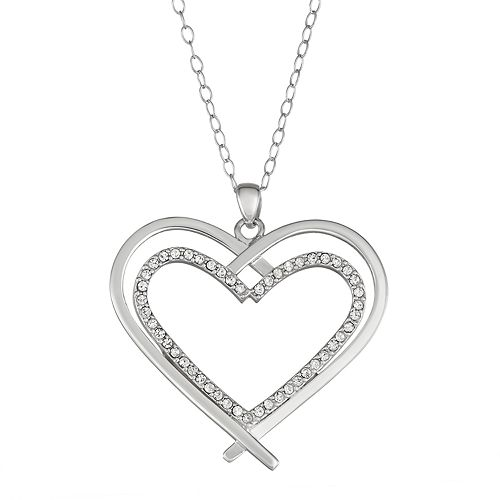 Sterling Silver Crystal Double Heart Necklace