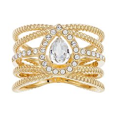 Brilliance Gold Tone Rope Band Ring with Swarovski Crystals