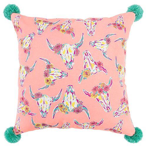 Simply Southern Aurora Cowheads Decorative Throw Pillow