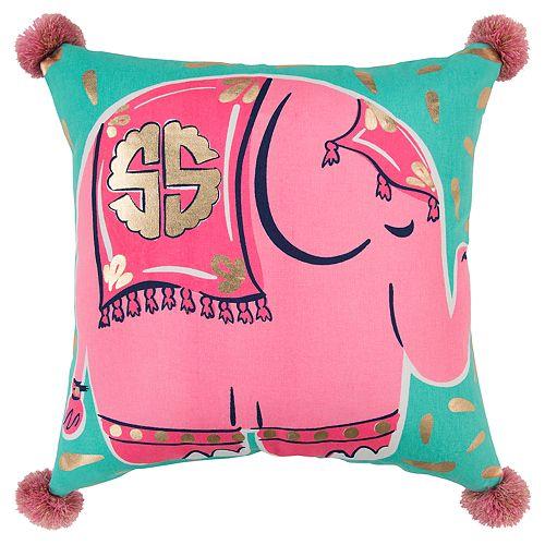 Simply Southern Lucinda SS Logo Pink Elephant Decorative Throw Pillow