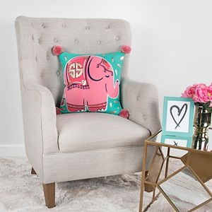 Simply Southern Lucinda SS Logo Pink Elephant Decorative Throw Pillow