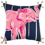 Simply Southern Zia Pink Elephant Gold Stripe Decorative Throw Pillow