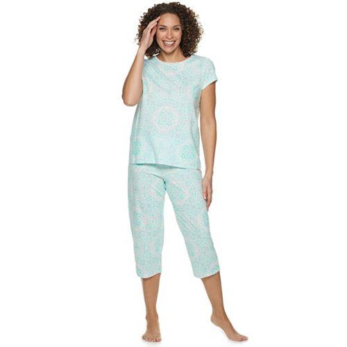Women's Croft & Barrow® Lace-Trim Sleep Tee & Capri Pajama Set