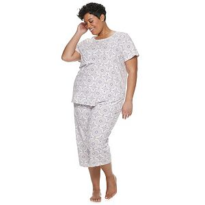 900d47ca3c41c Plus Size Croft & Barrow® Smocked Sleep Tee & Pajama Capri Set. (13). Sale